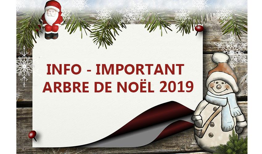 Important INFO – Arbre de Noël 2019
